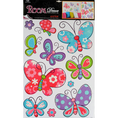 Wholesale Job Lot 48 x Fantastic Removable Glitter Wall Bedroom Room Stickers - Glitter Butterfly Design
