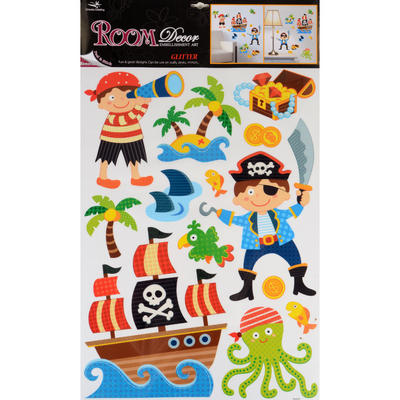 Wholesale Job Lot 48 x Fantastic Removable Glitter Wall Bedroom Room Stickers - Pirate Design