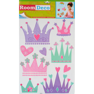 Wholesale Job Lot 48 Packs Fantastic Removable Girls Wall Bedroom Room Stickers - Princess Crown Design
