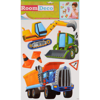 Wholesale Job Lot 48 Packs Fantastic Removable Boys Wall Bedroom Room Stickers - Construction Trucks Design