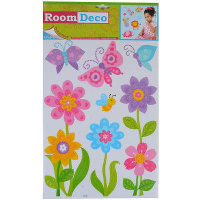 Wholesale Job Lot 48 Packs Fantastic Removable Girls Wall Bedroom Room Stickers - Multi Flowers Design