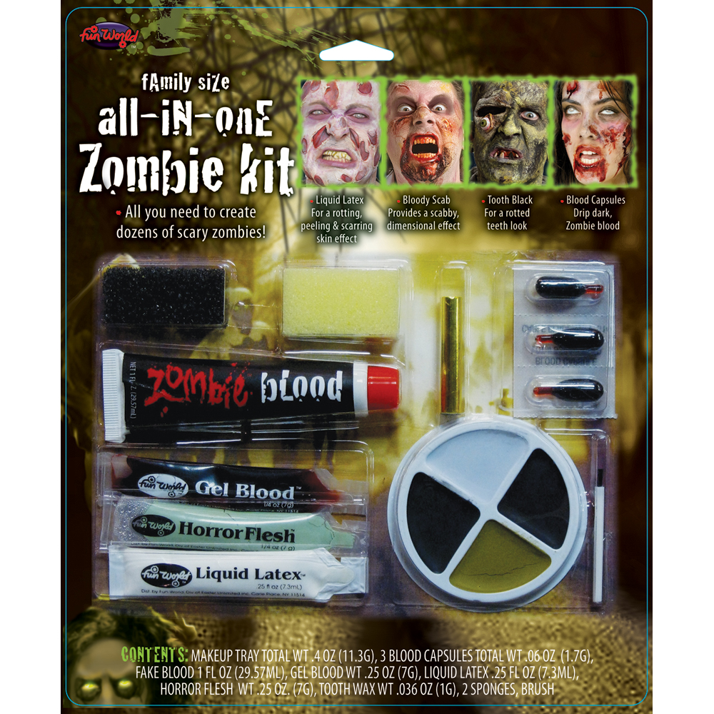 Complete Zombie Family Makeup And Special Fx Halloween Face Paint Accessory Kit
