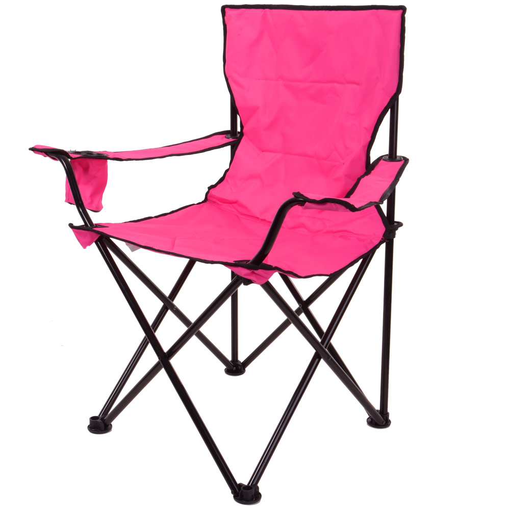 Azuma Hot Pink Deluxe Folding Outdoor Camping Festival Fishing Arm Chair Seat