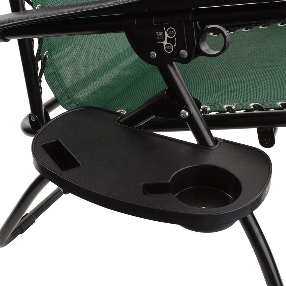Black Outdoor Garden Relaxer Chair Clip Side Table Cup