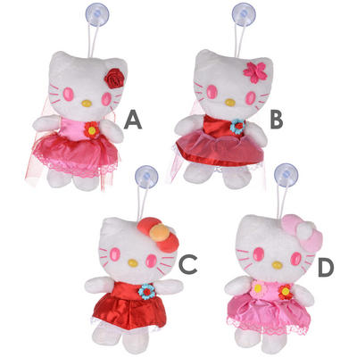 "7"" Hello Kitty Plush Soft Toy With Suction Cup Cars Van Window Mirror Accessory"