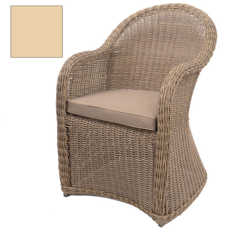 1 x Azuma Cannes Wicker Rattan Garden Conservatory Patio Arm Chair Seat With Cushion  Preview