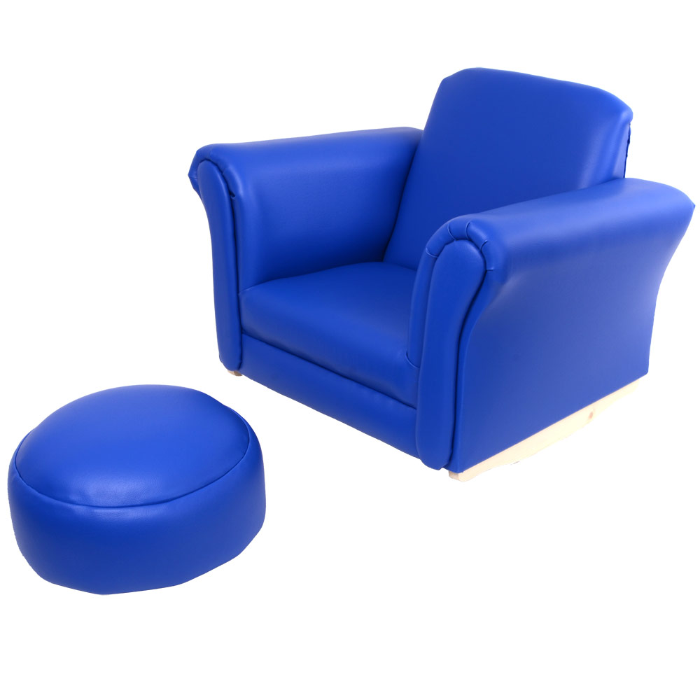 Children's PU Leather Look Rocker Rocking Armchair Seat & Footstool - Royal Blue