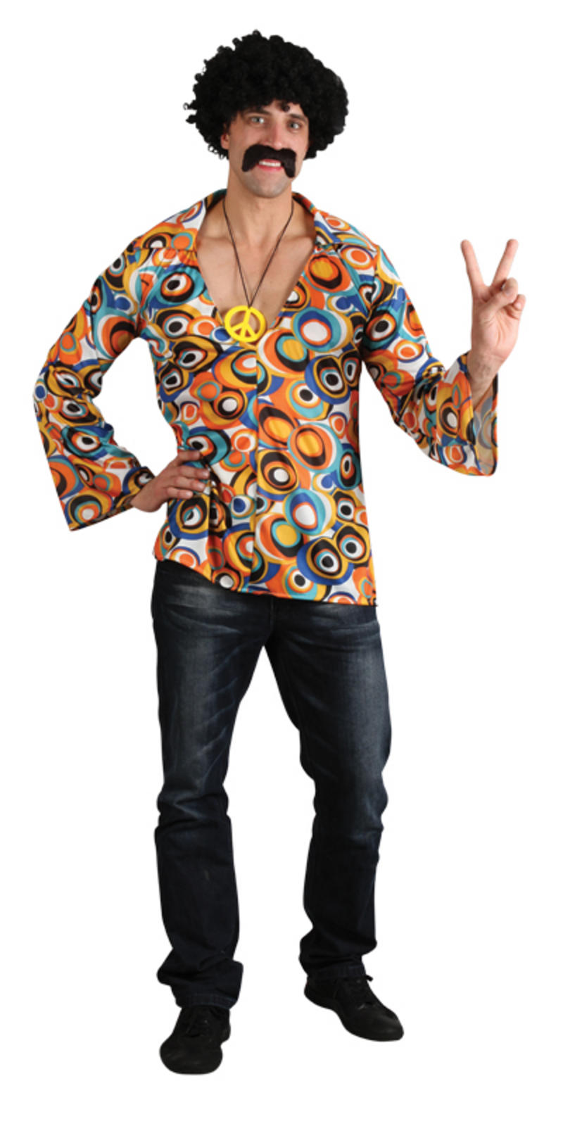Mensu0026#39; Groovy Flower Power Hippie Shirt Fancy Dress Up Party Festival Costume