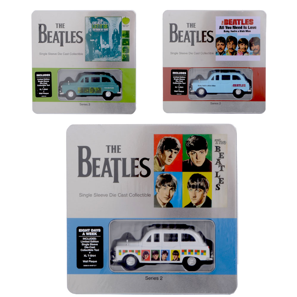 The Beatles Limited Edition Collectable Die Cast Taxi Tin T-Shirt & Wall Plaque