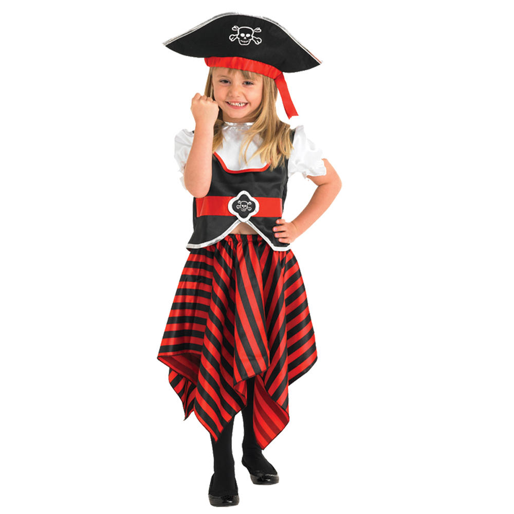 child pirate girl jolly rodger fancy dress up party halloween costume. Black Bedroom Furniture Sets. Home Design Ideas