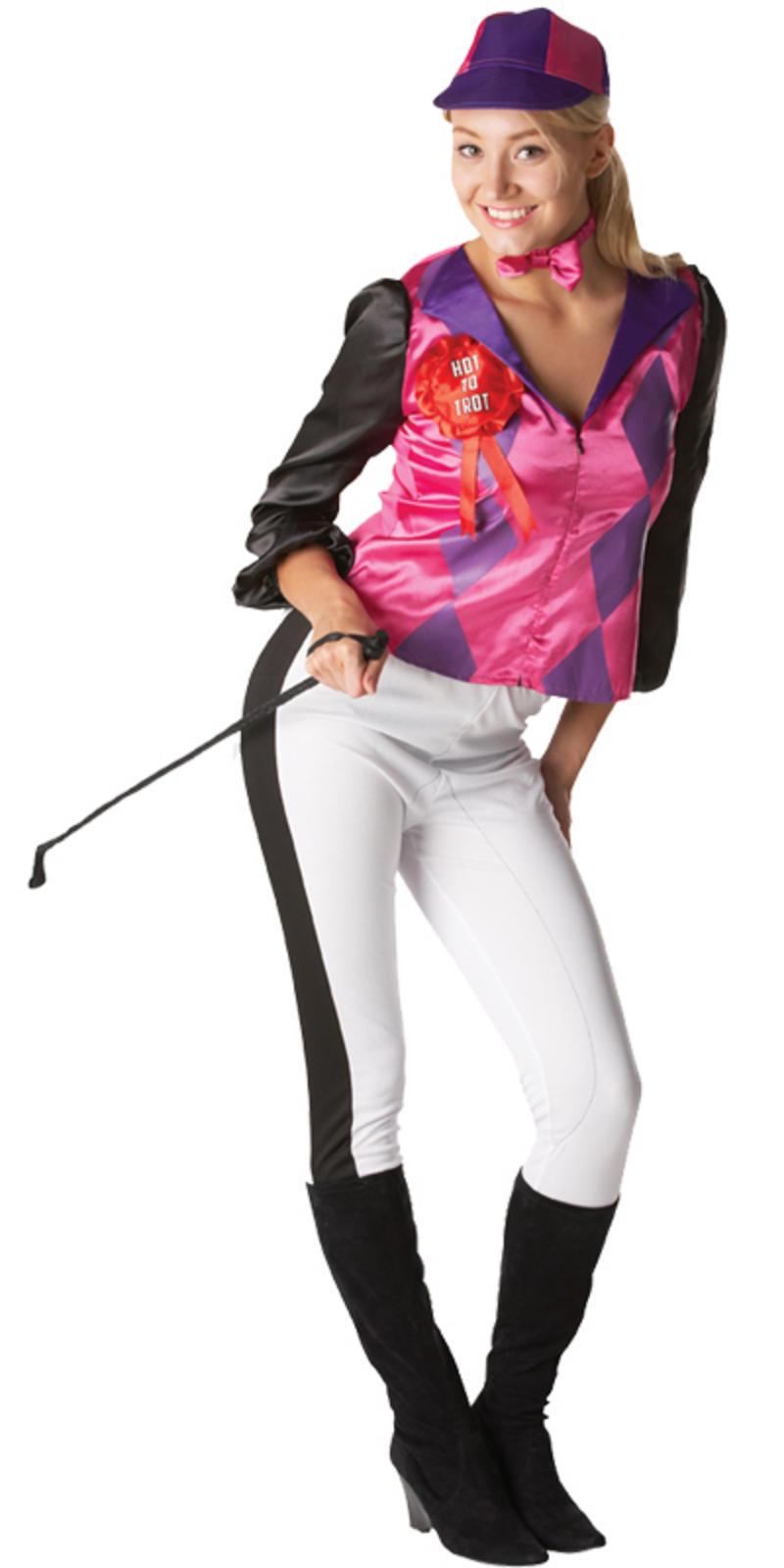 Adult Female Jockey Horse Riding Fancy Dress Up Party Halloween