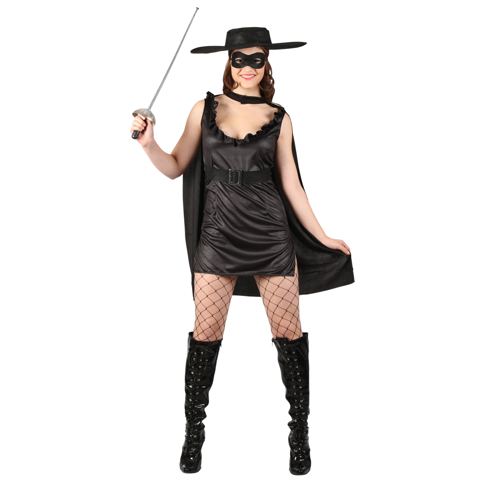 -Masked-Black-Zorro-Spanish-Bandit-Fancy-Dress-Party-Costume-OutfitZorro Costume For Women