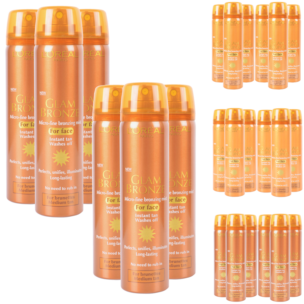 Set Of 6 x L'Oreal Paris Glam Bronze Instant Tan For Face Blondes And Brunettes