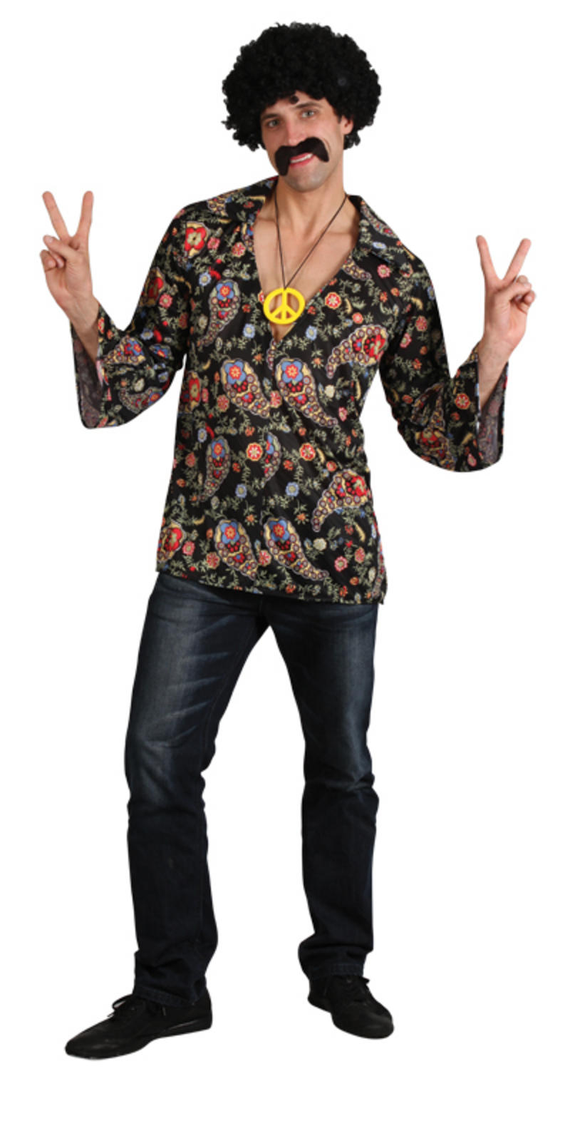 cool hippy groovy style flower power shirt with peace medallion. Black Bedroom Furniture Sets. Home Design Ideas