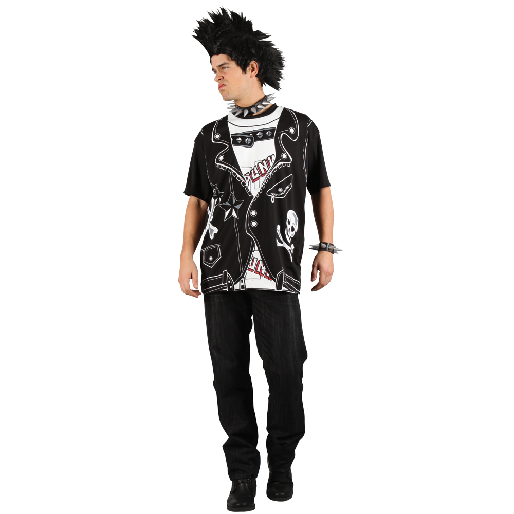 Mens EZ Punk Rocker Retro Fancy Dress T Shirt Print Halloween Easy Party Costume | eBay