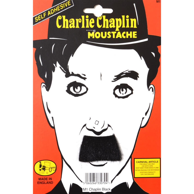 Adults Charlie Chapin Comic Actor Mime Black Self Adhesive Moustache
