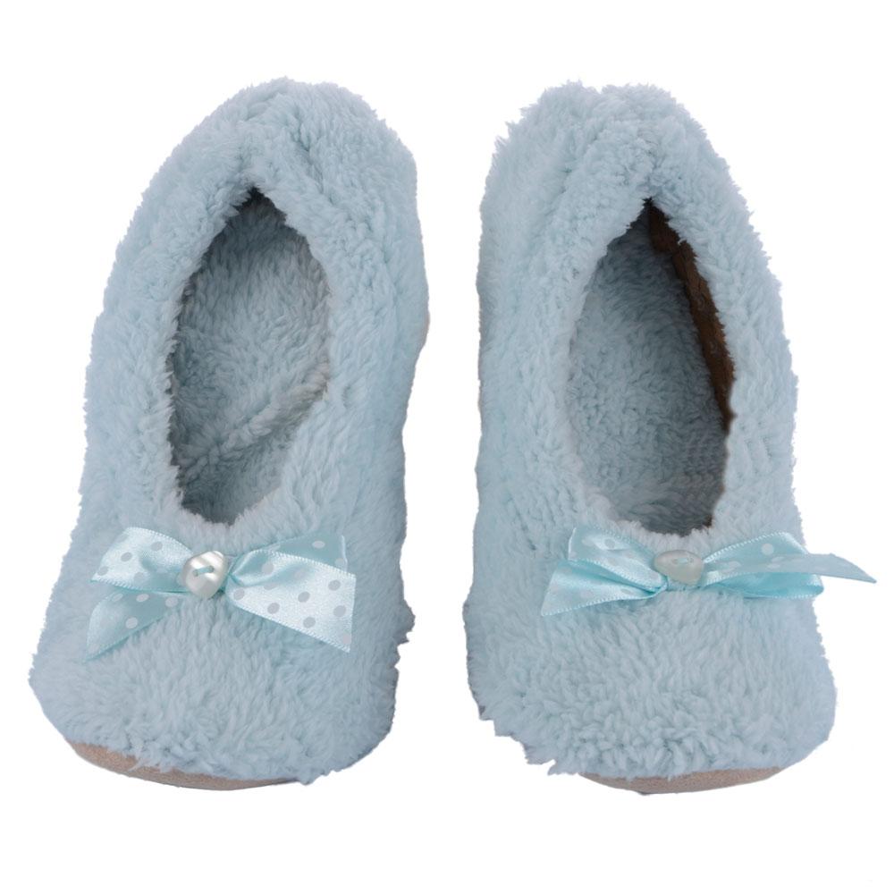 fdadccd35078 Ladies  Soft Chunky Fleece Ballerina Slippers Spot Ribbon Bow ...