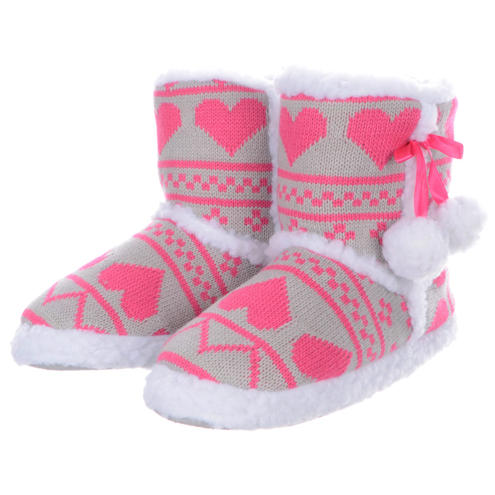 Ladies Heart Bootee Slippers