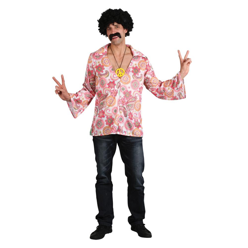 Mens Retro Psychedelic Hippie Woodstock Festival Fancy Dress Costume Party Shirt