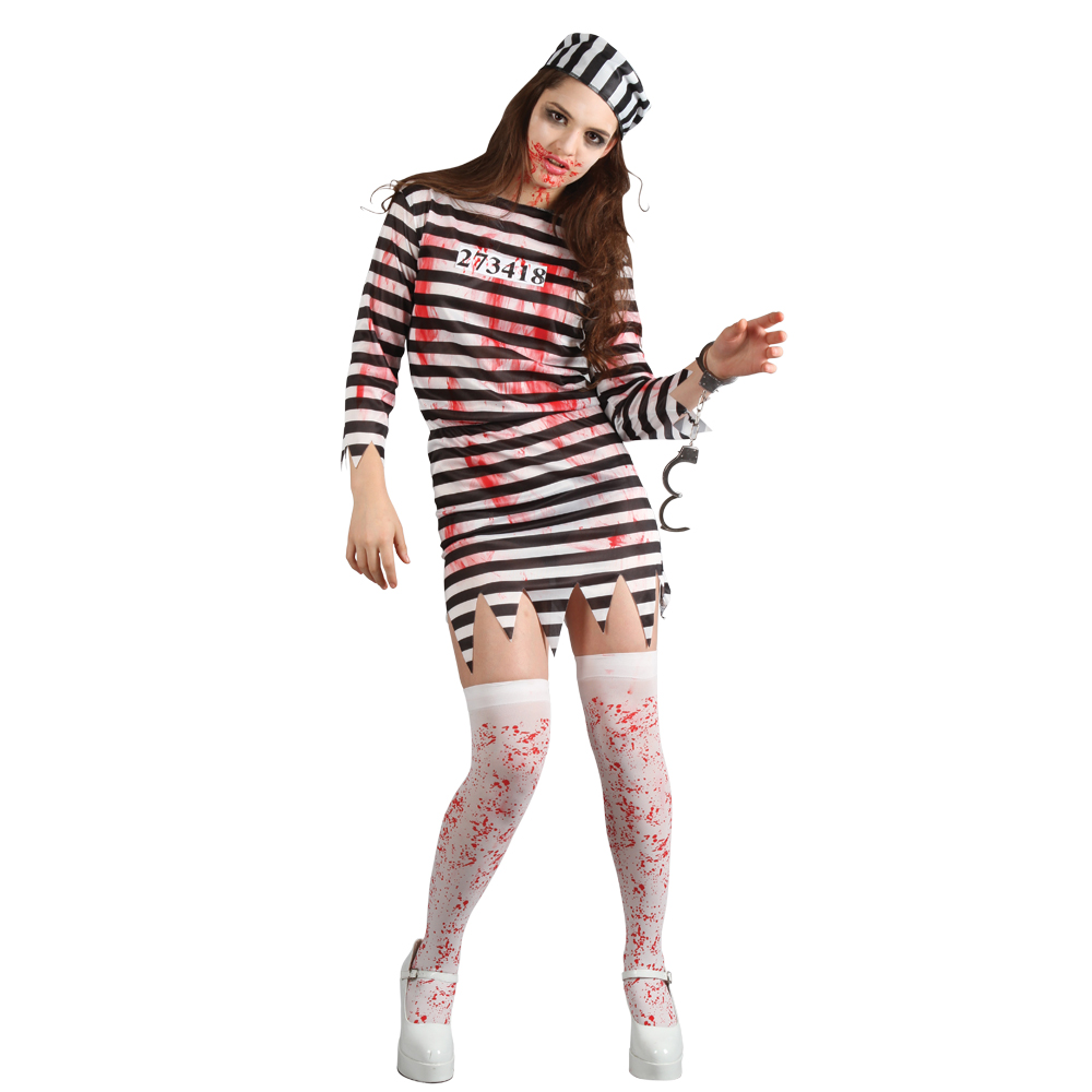 Womens Scary Undead Zombie Convict Prisoner Halloween ...
