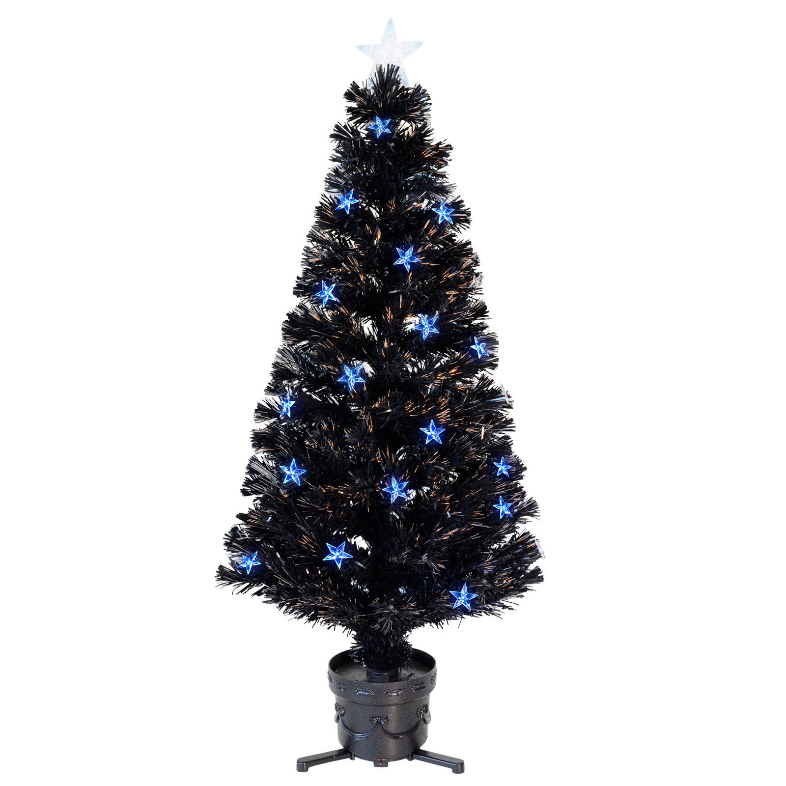 4ft 120cm Black Fibre Optic Artificial Indoor Christmas Tree With Blue LED Stars