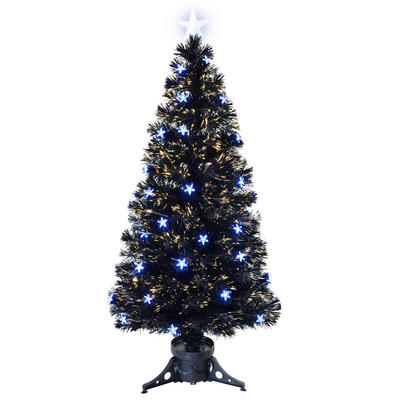 5ft 150cm Beautiful Black Fibre Optic Christmas Tree With Blue LED Stars