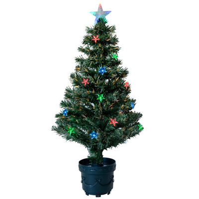 3ft 90cm Beautiful Green Fibre Optic Christmas Tree With Multi LED Stars