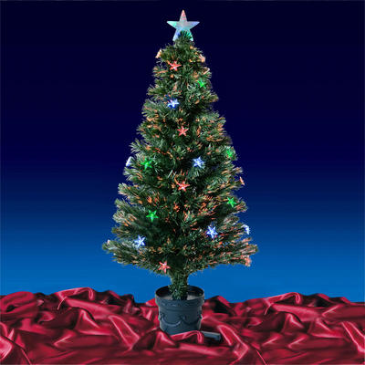 4ft 120cm Beautiful Green Fibre Optic Christmas Tree With Multi LED Stars