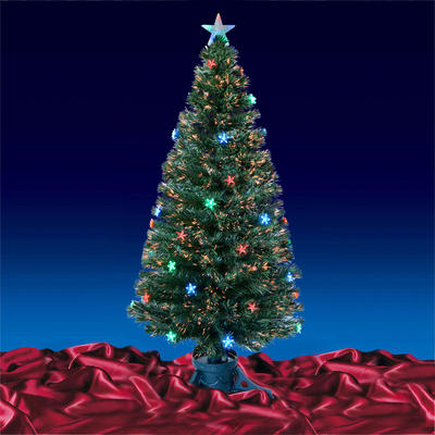 5ft 150cm Beautiful Green Fibre Optic Christmas Tree With Multi LED Stars