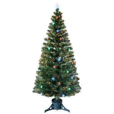 6ft 180cm Beautiful Green Fibre Optic Christmas Tree With Multi LED Stars
