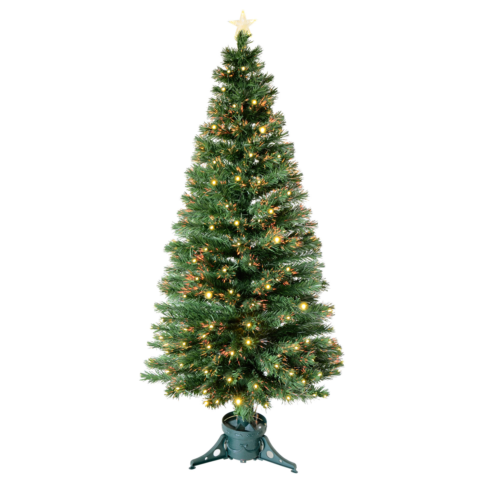 6ft 180cm Green Fibre Optic Artificial Indoor Christmas Xmas Tree With LED Tips