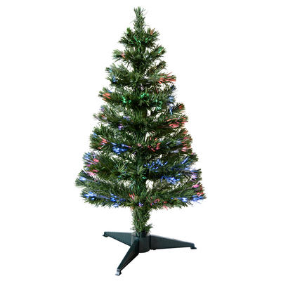 3ft 90cm Beautiful Green Christmas Tree With Multi Coloured Fibre Opics