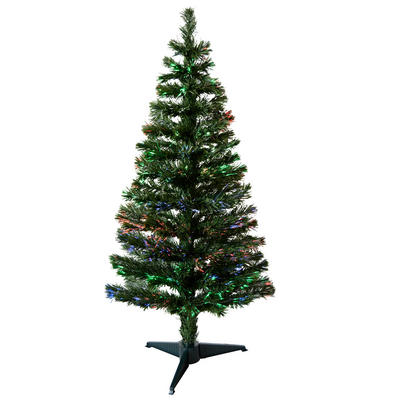 4ft 120cm Beautiful Green Christmas Tree With Multi Coloured Fibre Opics
