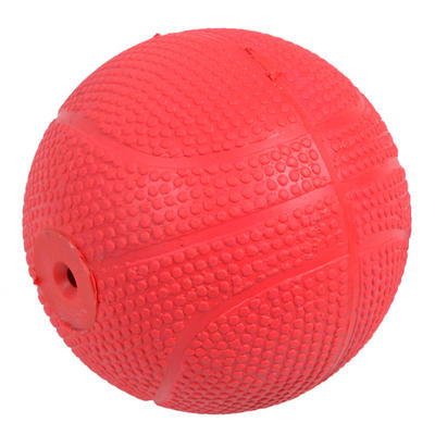 7cm Red Rubber Puppy Dog Pooch Pet Ball Fetch Play Toy With Squeaker