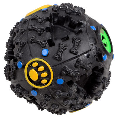Black Plastic Pet Dog Puppy Pooch Treat Ball Play Toy With Sound