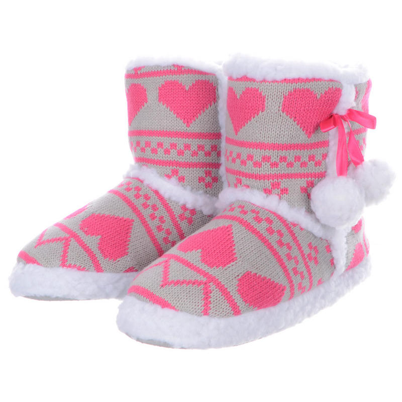 Ladies Girls Knitted Heart Fluffy Pompom Ankle Bootie