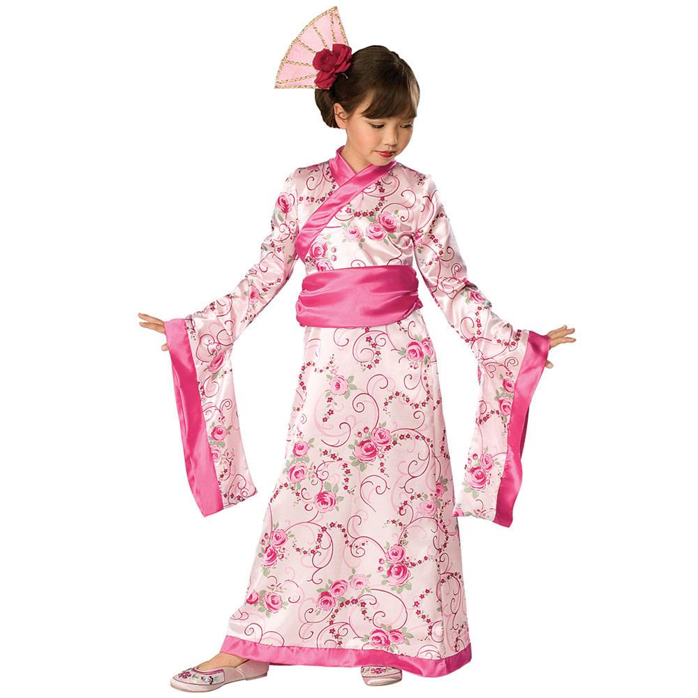 Japanese Dressing Gown: Girls Asian Princess Japanese Kimono Robe Fancy Dress