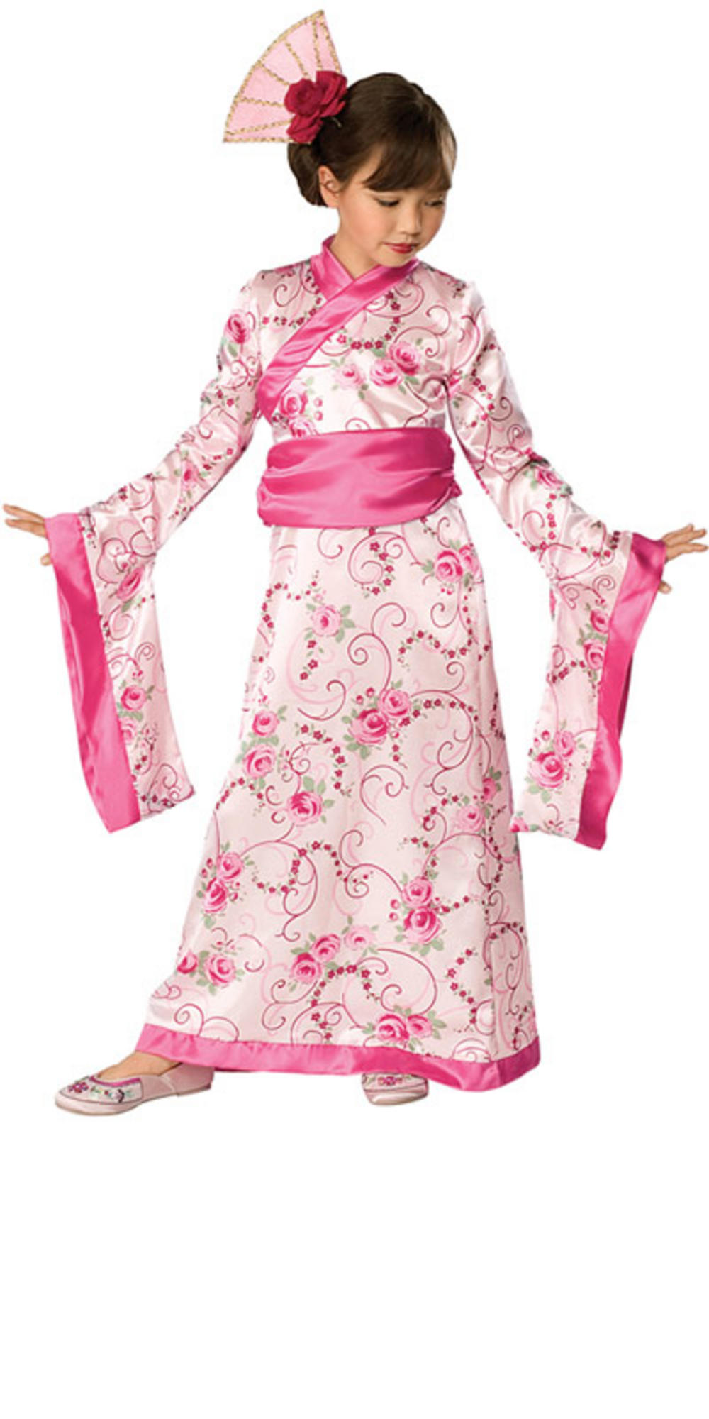 Girls Asian Princess Japanese Kimono Robe Fancy Dress Halloween Party Costume