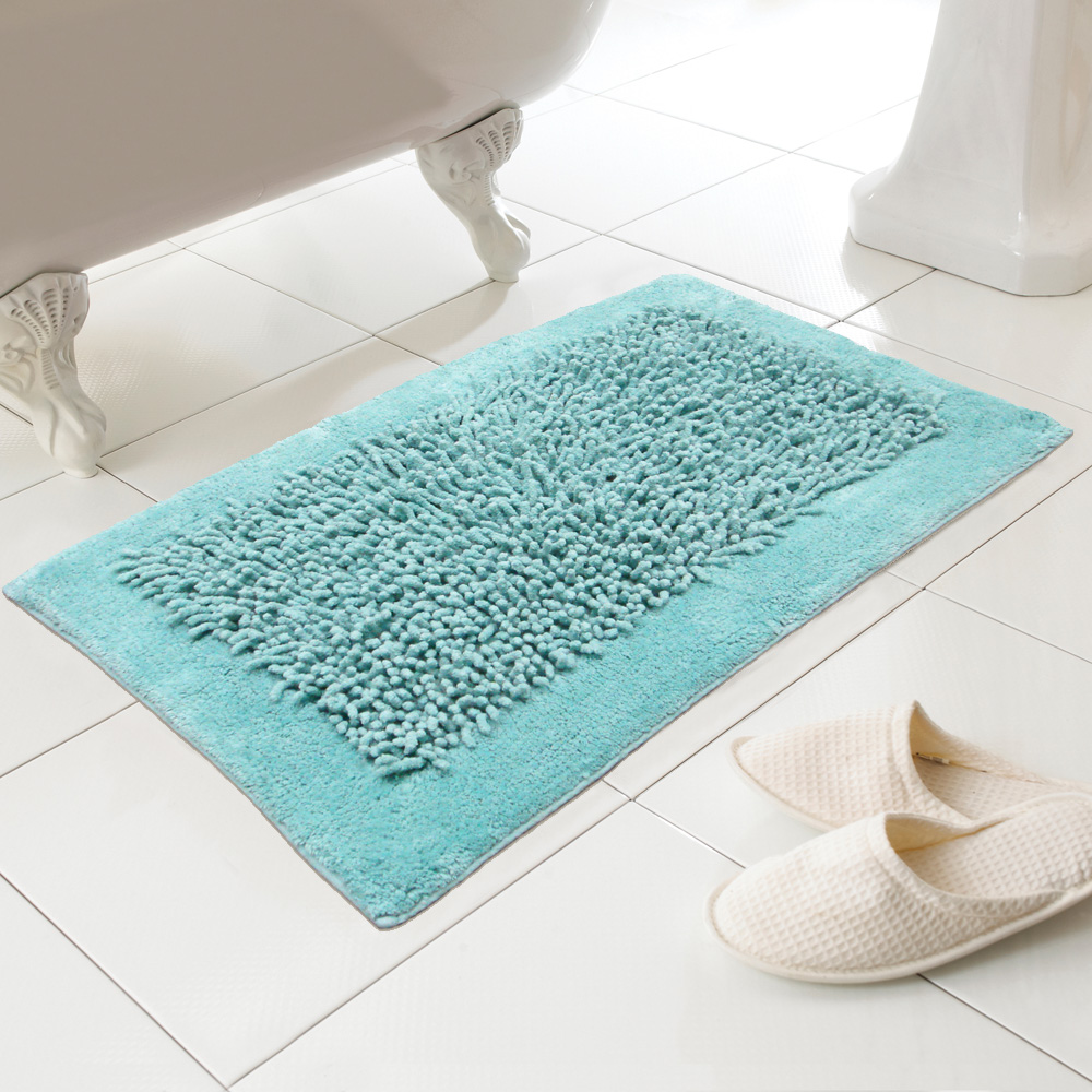 Noodles 100% Cotton Textured Washable Bath Mat Rug In