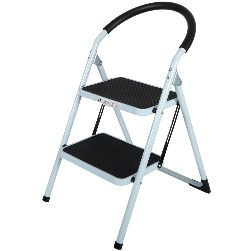 Step Ladders 2 Tread Strong Steel Non Slip Folding Step Ladder Kitchen Stool Ebay