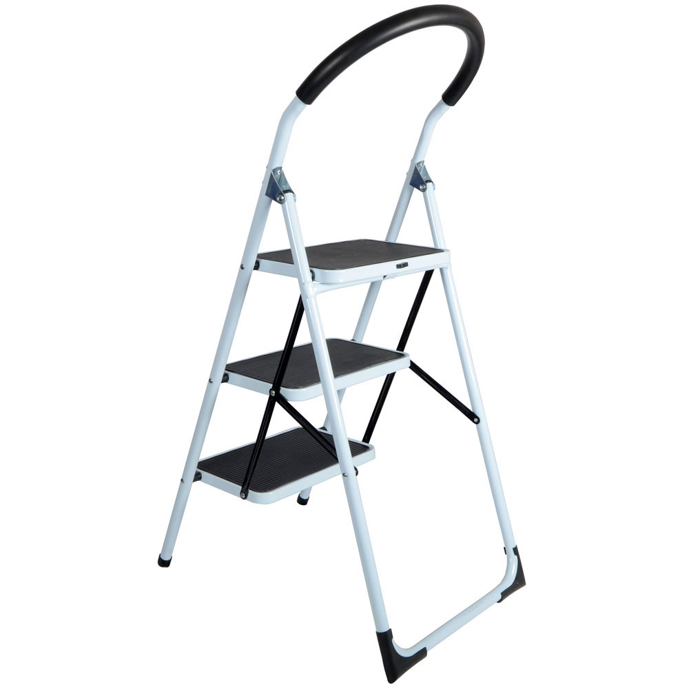 Step Ladders 3 Tread Strong Steel Non Slip Folding Step