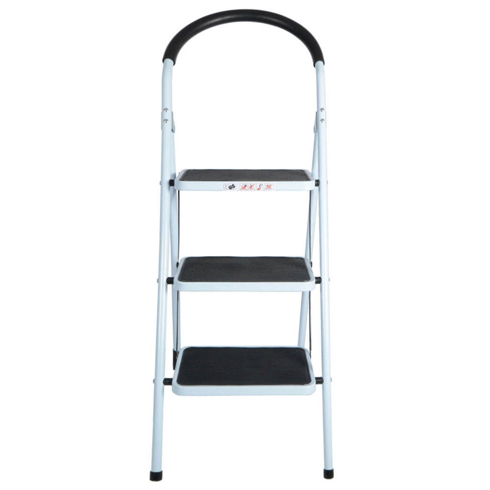 Step Ladders 3 Tread Strong Steel Non Slip Folding Step Ladder Kitchen Stool Ebay