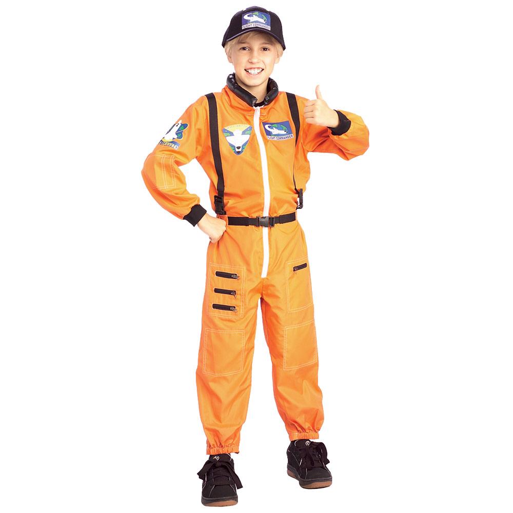 Kids Orange Astronaut Jumpsuit Uniform NASA Space Fancy Dress ...