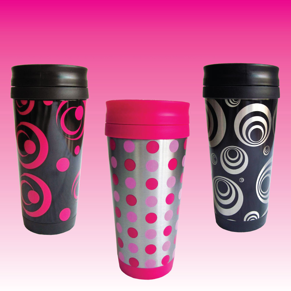 Ladies azuma 16oz thermal travel coffee drinks cup with screw lid funky designs ebay - Funky espresso cups ...