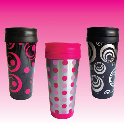Ladies Azuma 16oz Thermal Travel Coffee Drinks Cup With Screw Lid In 3 Funky Retro Designs