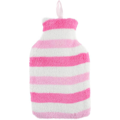 Mini Hot Water Bottle With White And Pink Striped Fleece Cover