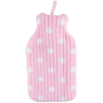 Mini Hot Water Bottle With Pink And White Dots Fleece Cover