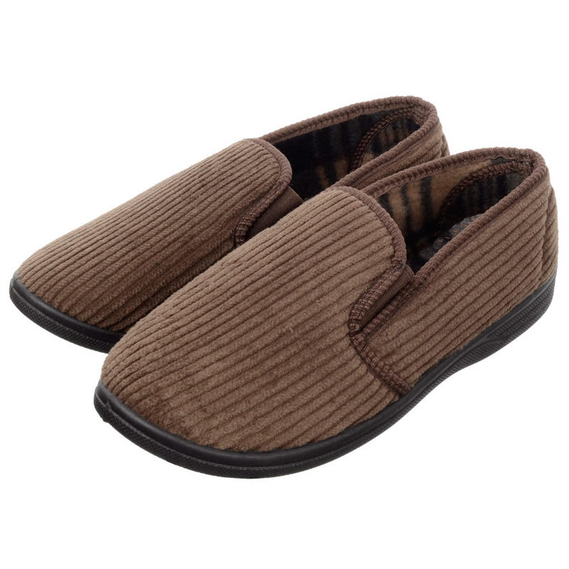 Mens Traditional Elasticated Cord Slippers With Non Slip Sole Fleece Li