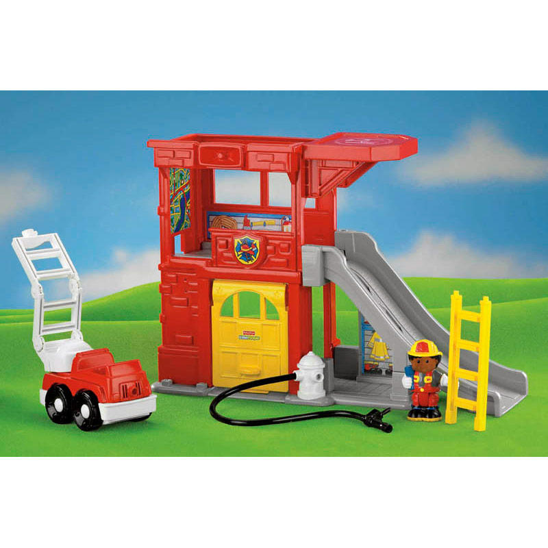 Fisher Price Little People Rescue Ramps Fire Station Play Set With Sound