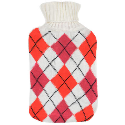 Pink Diamond - Large Hot Water Bottle With Beautiful Knitted Cover